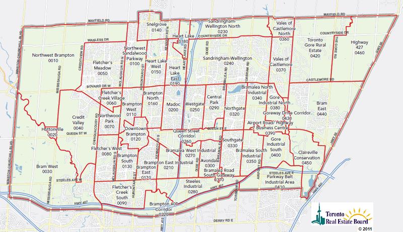 Toronto Real Estate District Maps Brampton Mls Map Zones