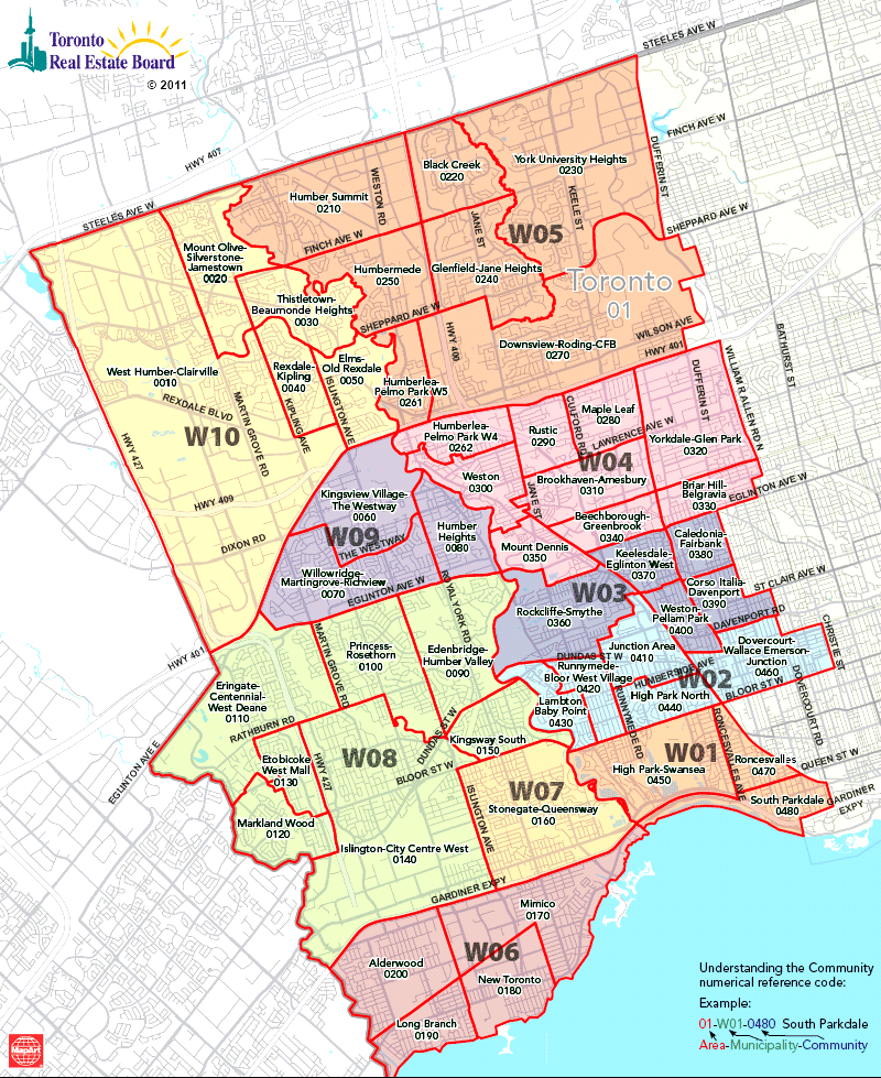 Maps Toronto.Toronto Real Estate District Maps West Toronto Map Etobicoke