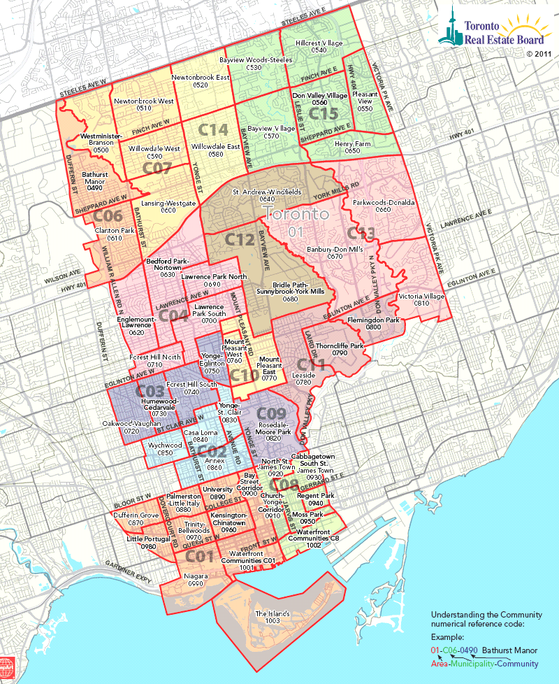 Mls Toronto Map Toronto Real Estate District Maps | Central Toronto Map | Downtown