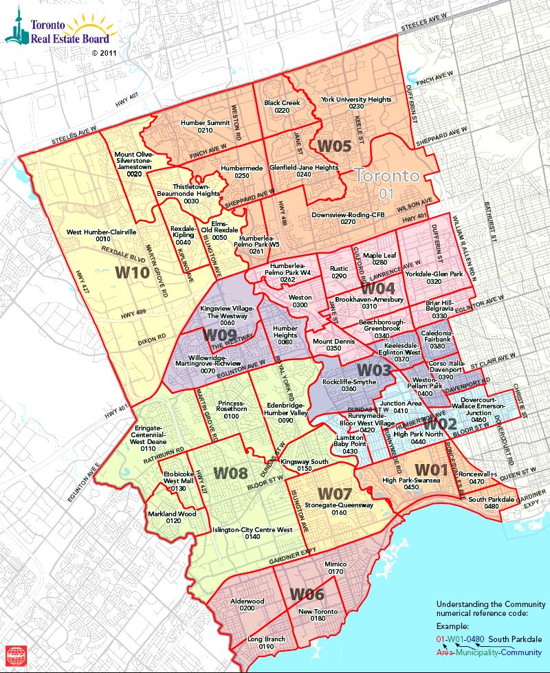 Mls Ontario Map Toronto Real Estate District Maps | West Toronto Map | Etobicoke  Mls Ontario Map